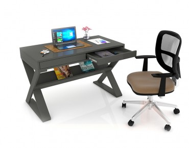 STUDY DESK WITH SHELF + STUDY CHAIR